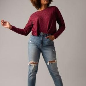 Burgundy Cropped Pullover Knit Top